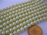 Glass Pearl Beads Pale Lemon 6mm